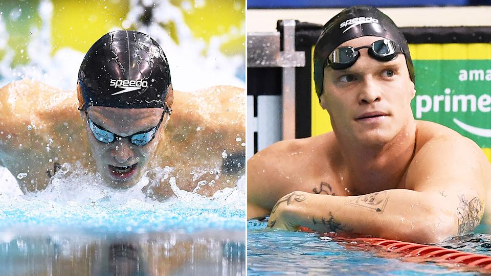 Cody Simpson is pictured here in the pool at the Australian Olympic swim trials in Adelaide.