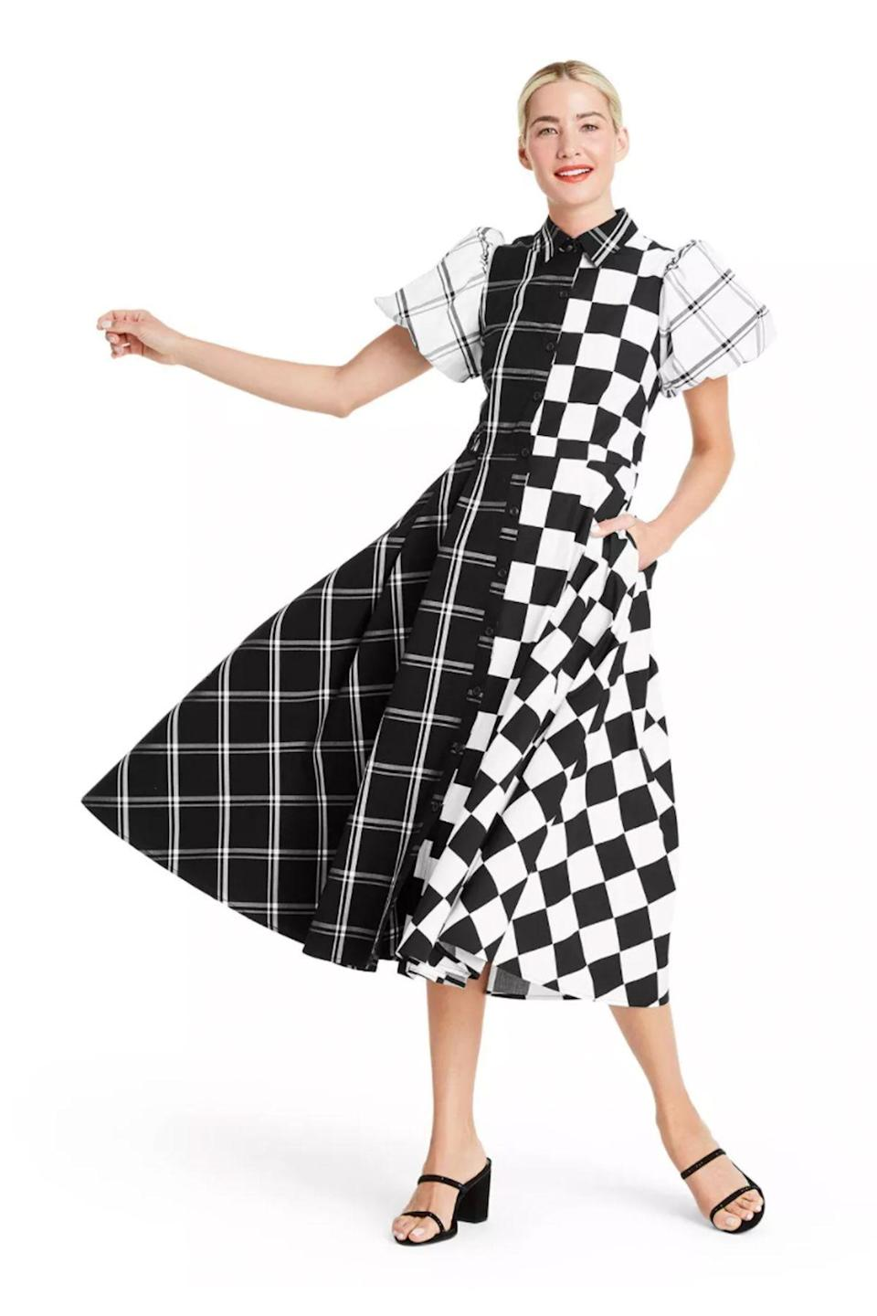 """<p><strong>Christopher John Rogers for Target</strong></p><p>target.com</p><p><strong>$60.00</strong></p><p><a href=""""https://www.target.com/p/mixed-checkerboard-puff-sleeve-shirtdress-christopher-john-rogers-for-target-black-white/-/A-82020276"""" rel=""""nofollow noopener"""" target=""""_blank"""" data-ylk=""""slk:Shop Now"""" class=""""link rapid-noclick-resp"""">Shop Now</a></p>"""