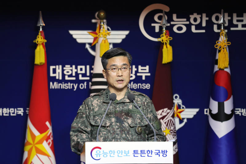 "Suh Wook, chief director of operations at the South Korea's Joint Chiefs of Staff, speaks during a press conference at the Defense Ministry in Seoul, South Korea, Wednesday, Jan. 23, 2019. South Korea's military accused Japan of a ""clear provocation"" over what it says was a threatening low-altitude flight by a Japanese patrol plane over a South Korean warship. (Lee Ji-eun/Yonhap via AP)"