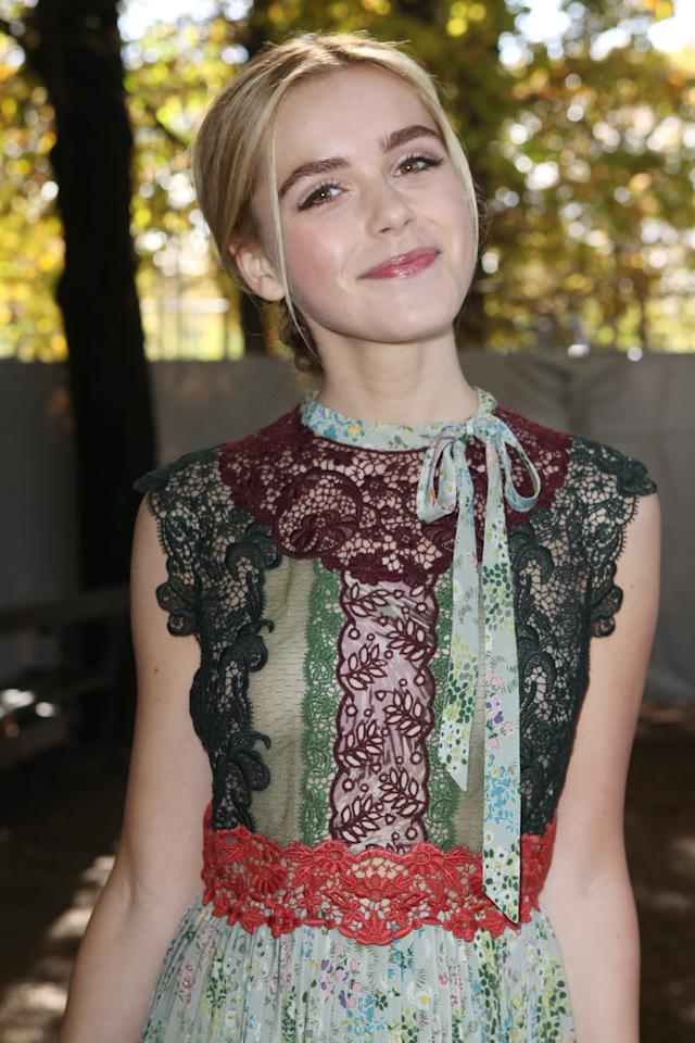 <p>Kiernan looked gorgeous with this natural makeup and a chignon with a few loose strands at a Valentino show in 2015.</p>