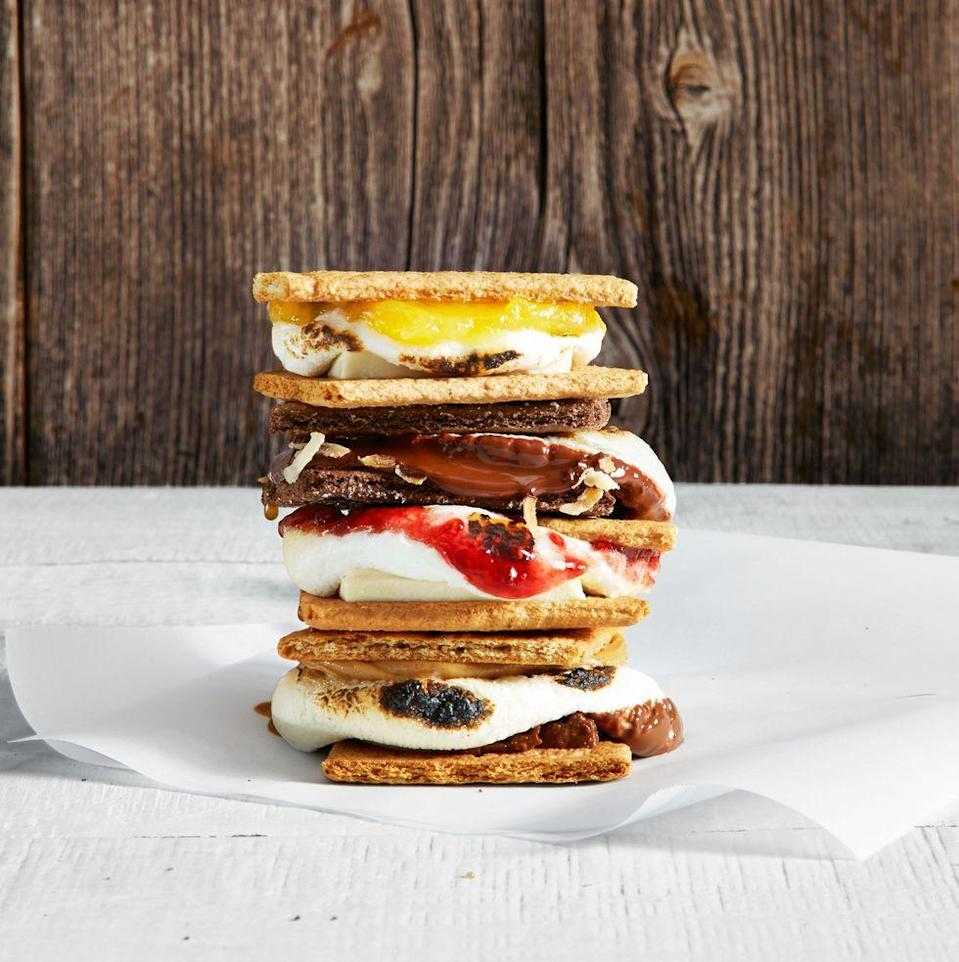 "<p>You don't need a backyard to enjoy this classic summer treat. Grab all your favorite ingredients (like dark chocolate, caramel toppings and peanut butter), along with marshmellows and graham crackers, and roast in your oven! </p><p><a href=""https://www.goodhousekeeping.com/food-recipes/a35195104/indoor-smores-recipe/"" rel=""nofollow noopener"" target=""_blank"" data-ylk=""slk:Get the recipe for Indoor S'mores »"" class=""link rapid-noclick-resp""><em>Get the recipe for Indoor S'mores »</em></a></p>"
