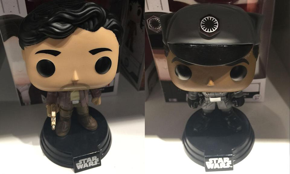 <p>Poe Dameron and Finn in disguise Funko Pops. (Yahoo Movies UK/Disney) </p>