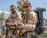 <p>Cosplayers Miguel Medina and Charles Lewin, from Los Angeles, dressed as Ghostbusters at Comic-Con International on July 19 in San Diego. (Photo: Christy Radecic/Invision/AP) </p>