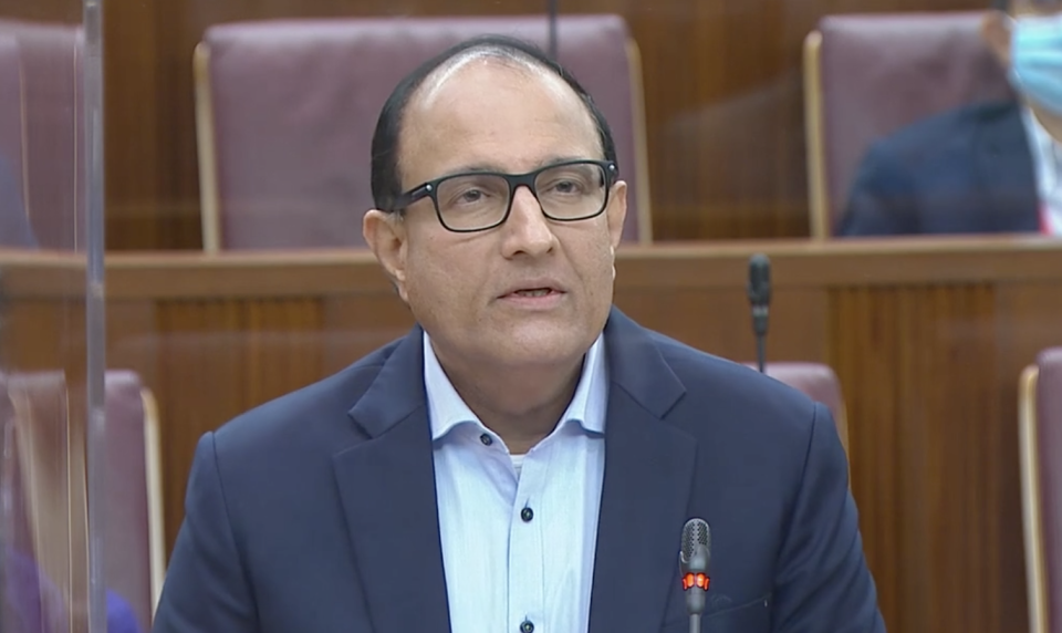 Communications and Information Minister S Iswaran in Parliament on 4 September, 2020. (PHOTO: Parliament screengrab)