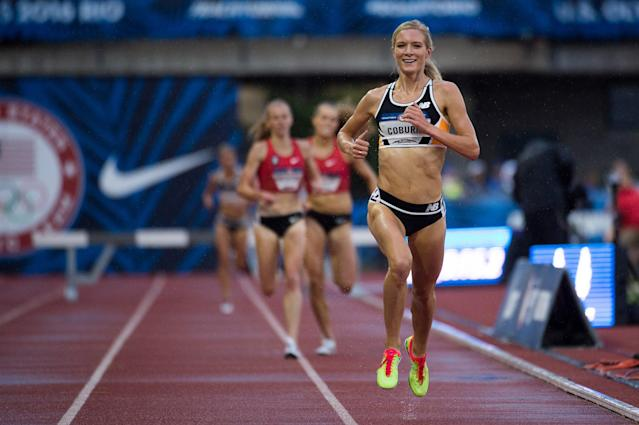 <p>Emma Coburn of the United States completes during the Women's 3000m Steeplechase of the Diamond League Track and Field competition at Shanghai Stadium on May 18, 2014 in Shanghai, China. (Photo by Feng Li/Getty Images) </p>