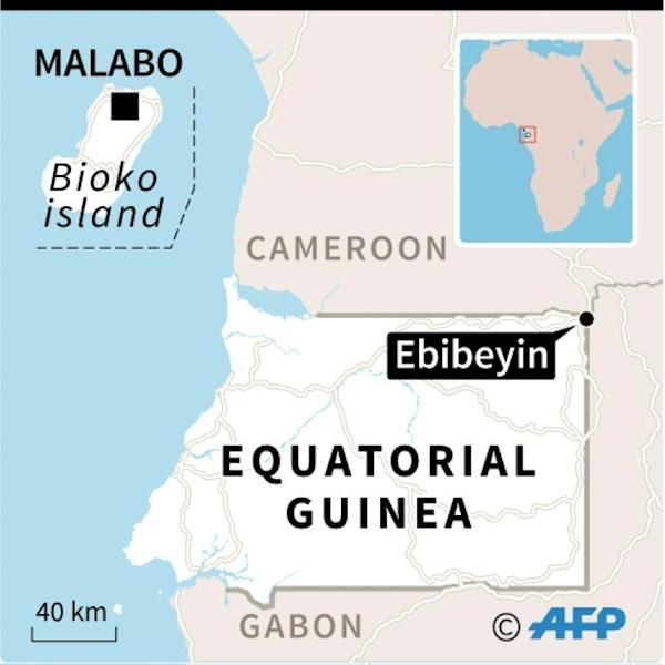 Map of Equatorial Guinea, locating Ebibeyin, one of the towns where officials say they thwarted a coup bid against President Teodoro Obiang Nguema, Africa's longest-serving leader