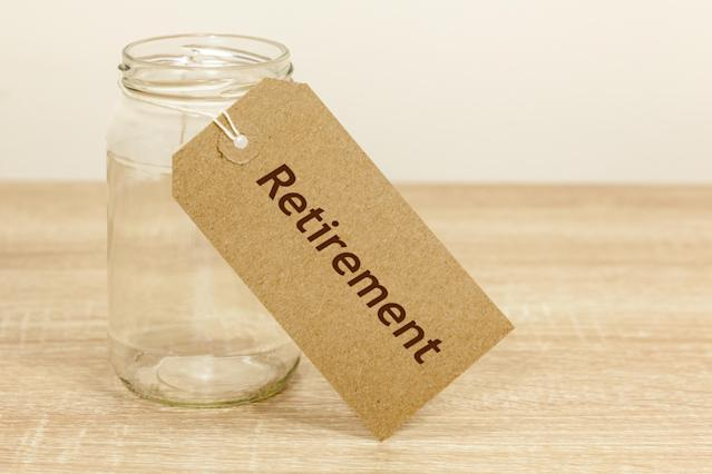Empty glass jar with a label that reads 'Retirement'. Credit: Getty