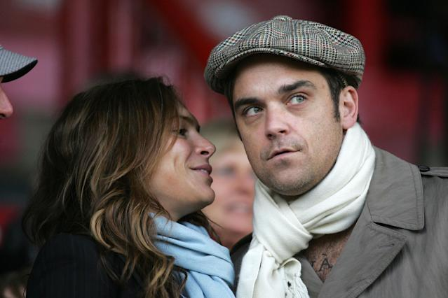 Singer Robbie Williams with Ayda Field in 2009. (Photo by Mark Leech/Offside/Getty Images)