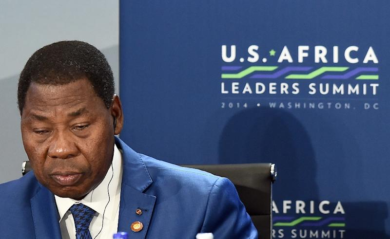 Benin goes to the polls this weekend in legislative elections seen as a test for President Thomas Boni Yayi, seen in Washington, DC, August 6, 2014, whose controversial plans to change the constitution could be crushed if the opposition makes gains (AFP Photo/Jewel Samad)