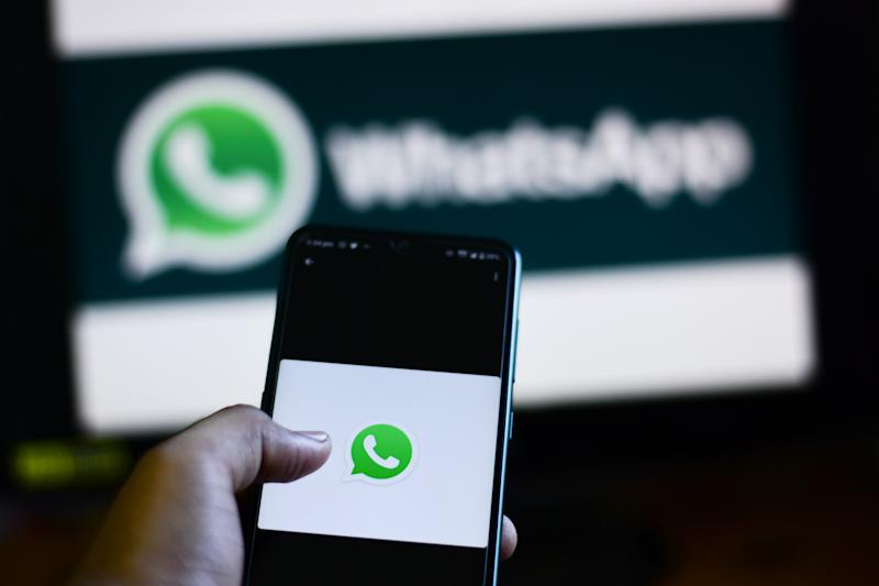 INDIA - 2020/08/29: In this photo illustration a WhatsApp logo seen displayed on a smartphone. (Photo Illustration by Manish Rajput/SOPA Images/LightRocket via Getty Images)
