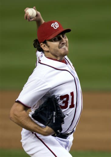 Washington Nationals starting pitcher John Lannan delivers during the second inning of a baseball game against the Philadelphia Phillies in Washington, Monday, Oct. 1, 2012. (AP Photo/Manuel Balce Ceneta)