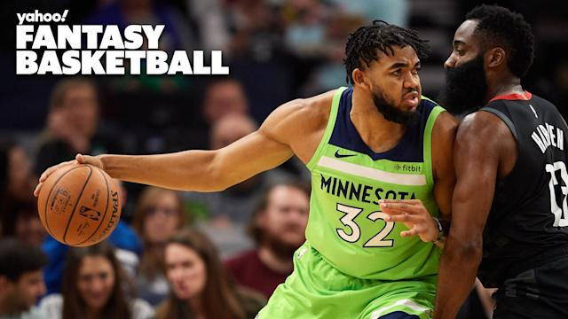 Minnesota Timberwolves center Karl-Anthony Towns posts up on Houston Rockets guard James Harden