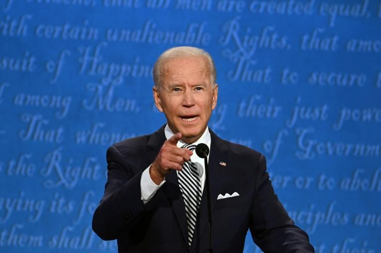 Democratic presidential candidate Joe Biden speaks during the first presidential debate at the Case Western Reserve University and Cleveland Clinic