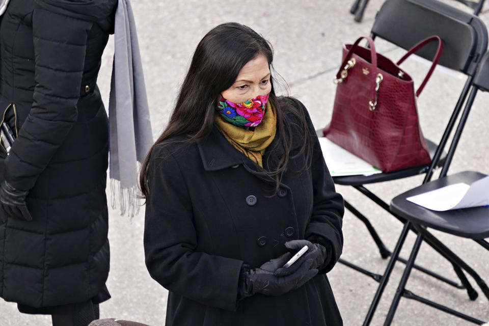 FILE - In this Jan. 20, 2021, file photo, Rep. Deb Haaland, a Democrat from New Mexico and nominee to be secretary of the interior for President Joe Biden, wears a mask while attending the 59th presidential inauguration in Washington. If confirmed, she would lead the Interior Department, which oversees tribal affairs, and she would be the first Native American in a Cabinet post. (Kevin Dietsch/Pool Photo via AP, File)