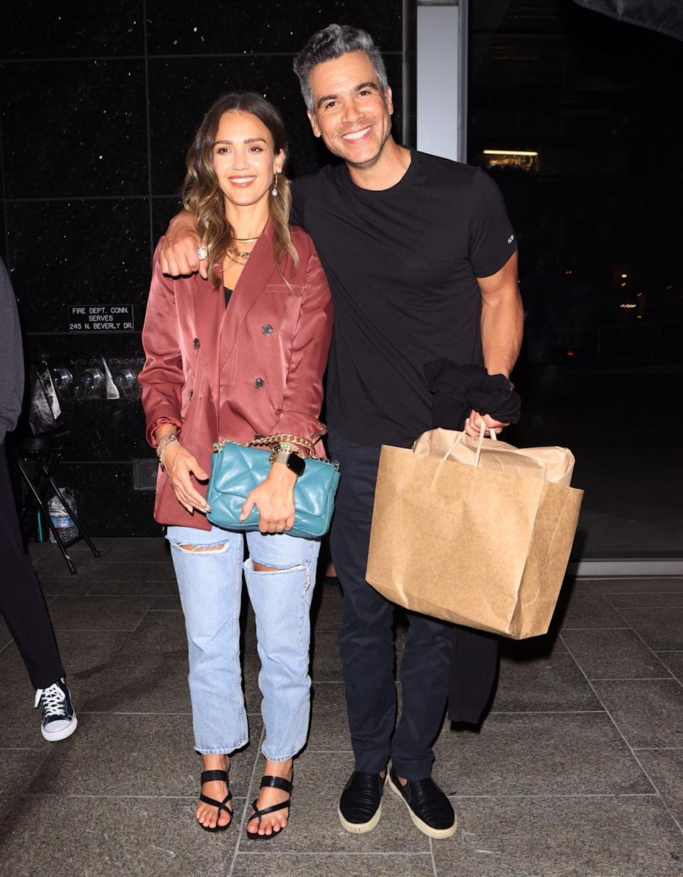 <p>Jessica Alba and husband Cash Warren have a date night at Avra in Beverly Hills on June 22.</p>