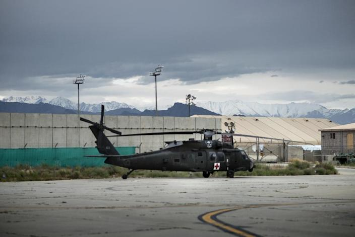 An explosion, claimed by the Taliban, struck Bagram Airfield (pictured), the largest US military base in Afghanistan, killing at least four people (AFP Photo/Brendan Smialowski)