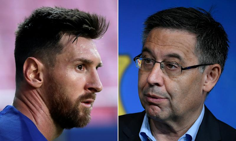 (COMBO) This combination of file pictures created on September 4, 2020 shows Barcelona's Argentinian forward Lionel Messi (L) during the UEFA Champions League quarter-final football match between Barcelona and Bayern Munich at the Luz stadium in Lisbon on August 14, 2020 and Barcelona's president Josep Maria Bartomeu holding a press conference at the Camp Nou stadium in Barcelona on July 5, 2019. - Lionel Messi said on September 4, 2020 he will stay at Barcelona but only because the club's president Josep Maria Bartomeu broke his word to let him leave. Messi's stinging attack on Bartomeu and the club means his future still remains in doubt. (Photos by Manu Fernandez and LLUIS GENE / AFP) (Photo by MANU FERNANDEZ,LLUIS GENE/AFP via Getty Images)