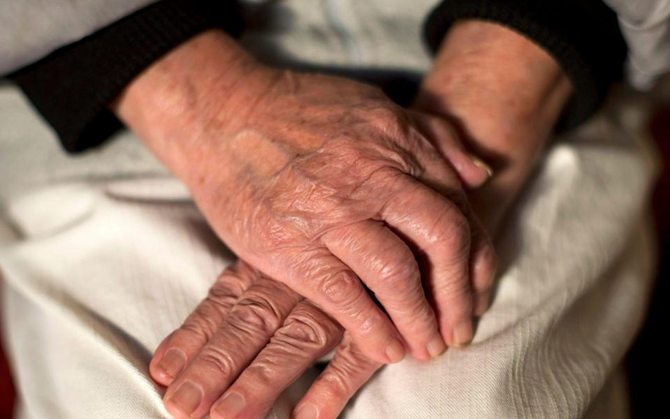 Undated file photo of the hands of an elderly woman. Alzheimer's disease may be preventable by keeping an eye on key factors including weight gain, blood pressure and avoiding stress, experts say. PA Photo. Issue date: Tuesday July 21, 2020. Researchers said many risk factors are modifiable in the fight to prevent dementia, which affects around 850,000 people in the UK, two-thirds of whom have Alzheimer's. See PA story HEALTH Dementia. - Yui Mok/PA Wire