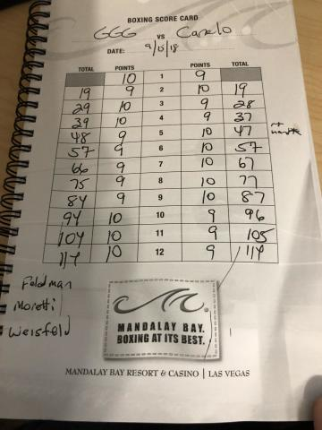Yahoo Sports columnist Kevin Iole's scorecard from Saturday's Gennady Golovkin-Canelo Alvarez fight in Las Vegas. (Yahoo Sports)