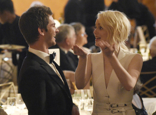 """<p>It's really not awkward! The friendly exes, who have <a href=""""https://www.yahoo.com/entertainment/emma-stone-andrew-garfield-back-113049038.html"""" data-ylk=""""slk:had us guessing about their romantic status;outcm:mb_qualified_link;_E:mb_qualified_link"""" class=""""link rapid-noclick-resp newsroom-embed-article"""">had us guessing about their romantic status</a> for years since their last breakup, shared a laugh at the 2017 Governors Awards in L.A. on Sunday. (Photo: Chris Pizzello/Invision/AP) </p>"""