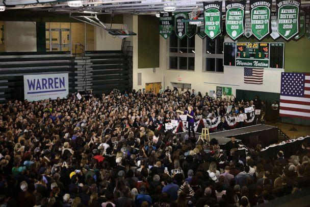 PHOTO: In this Feb. 13, 2020, file photo, thousands of people attend a rally with Democratic presidential candidate Sen. Elizabeth Warren in the gymnasium at Wakefield High School in Arlington, Va. (Chip Somodevilla/Getty Images, FILE)