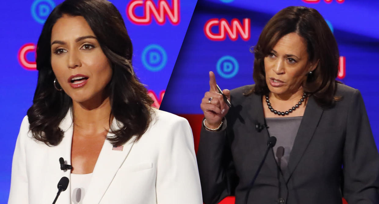 Tulsi Gabbard, left, and Kamala Harris. (Photo illustration: Yahoo News; photos: Paul Sancya/AP)