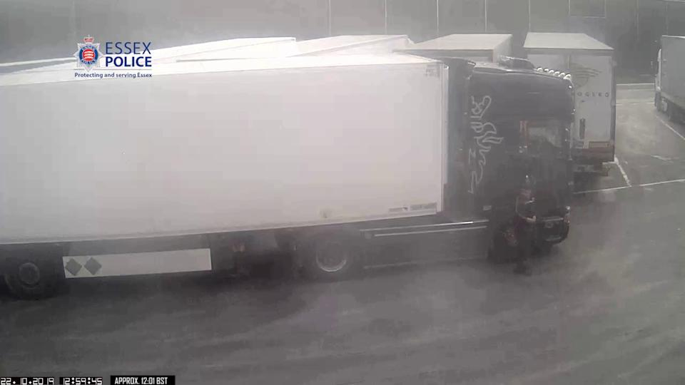 Eamonn Harrison driving his lorry and trailer into a truck stop in Belgium. (PA/Essex Police)