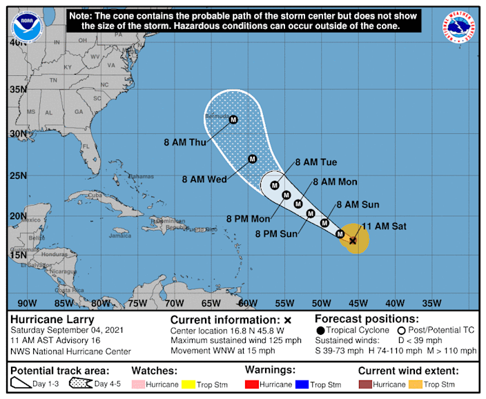 The forecast track of Hurricane Larry shows the storm potentially approaching Bermuda later next week.