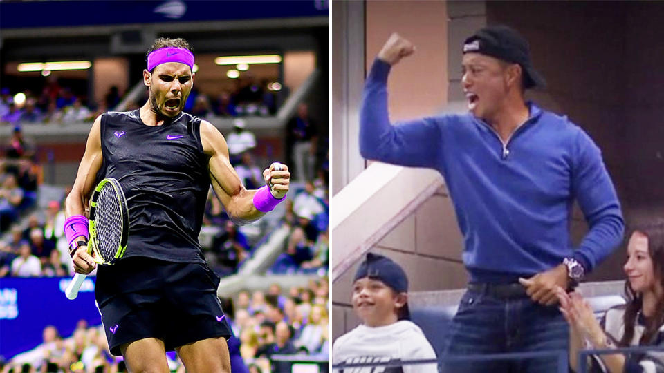 Rafael Nadal (pictured left) celebrating and Tiger Woods (pictured right) fist-pumping in the crowd.
