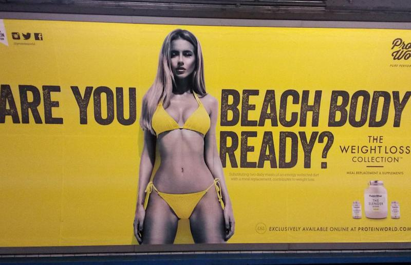 This Tube 'beach body ready' advert was also banned (Catherine Wylie/PA Wire)