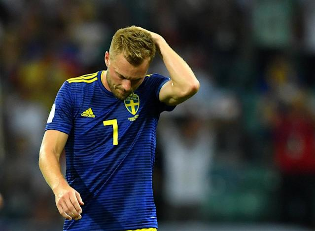 Soccer Football - World Cup - Group F - Germany vs Sweden - Fisht Stadium, Sochi, Russia - June 23, 2018 Sweden's Sebastian Larsson looks dejected after the match REUTERS/Dylan Martinez