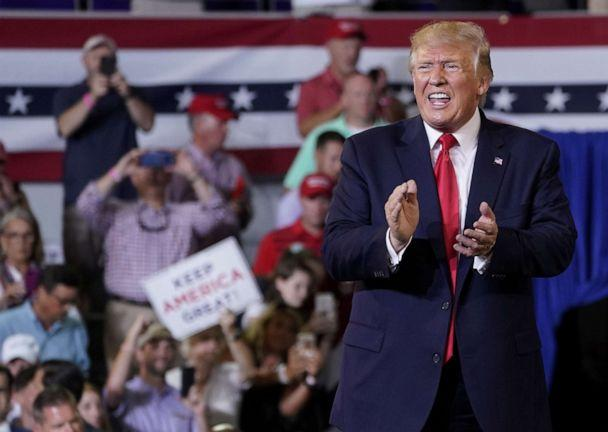 PHOTO: President Donald Trump reacts during a campaign rally in Greenville, N.C., July 17, 2019. (Kevin Lamarque/Reuters)