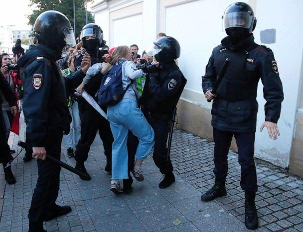 PHOTO: Law enforcement officers detain Daria Sosnovskaya after a rally to demand authorities allow opposition candidates to run in the upcoming local election in Moscow, Aug. 10, 2019. (Maxim Shemetov/Reuters)