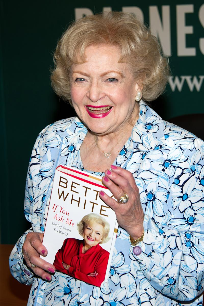 "FILE - In this May 6, 2011 file photo, actress Betty White attends a book signing for her book ""If You Ask Me: And Of Course You Won't"" at Barnes & Noble in New York. At 89, White has become a role model for how to grow old joyously.  (AP Photo/Charles Sykes, file)"