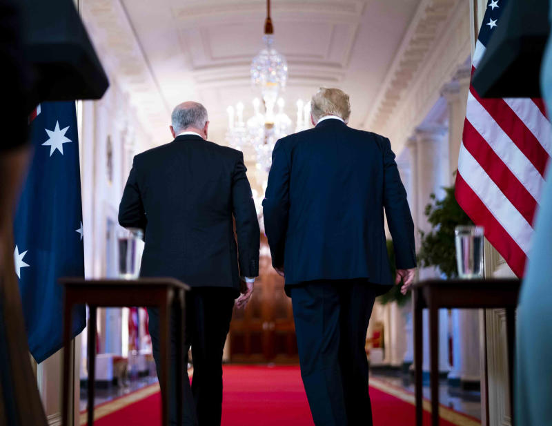 President Donald Trump and Australian Prime Minister Scott Morrison depart a news conference in the White House, on Friday, Sept. 20, 2019. (Doug Mills/The New York Times)
