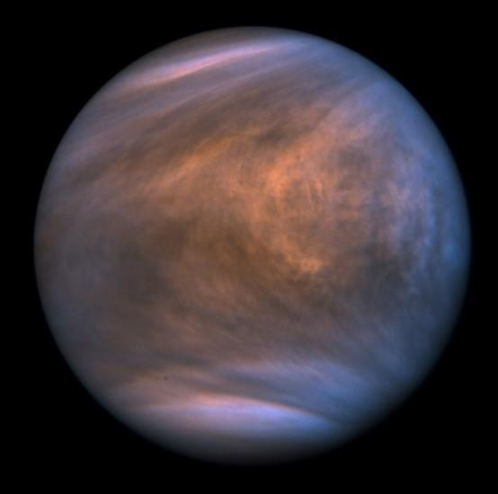Image of Venus, showing the clouds, taken by the ultraviolet imager of the Venus Climate Orbiter Akatsuki in 2018