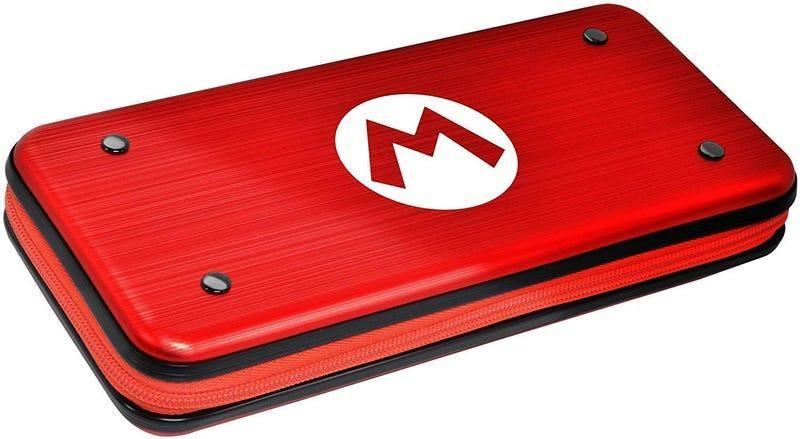aluminum mario switch carrying case against a white background