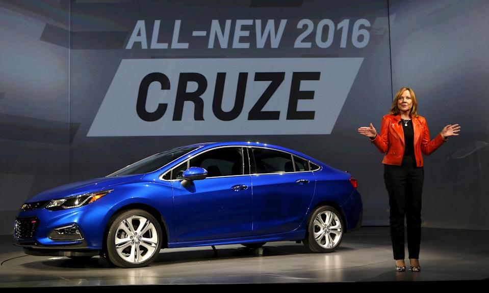 FILE PHOTO: General Motors CEO Mary Barra talks about the new 2016 Chevy Cruze vehicle at the Filmore Theater in Detroit, Michigan, June 24, 2015. REUTERS/Rebecca Cook/File Photo