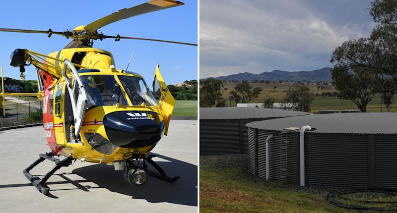A 4-year-old NSW girl was crushed by a water tank. Pictured left is a stock image of a rescue helicopter and on the right is a stock image of water tanks.