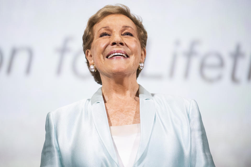 Actress Julie Andrews poses for photographers at the Golden Lion for Lifetime Achievement Award presentation at the 76th edition of the Venice Film Festival, Venice, Italy, Monday, Sept. 2, 2019. (Photo by Arthur Mola/Invision/AP)