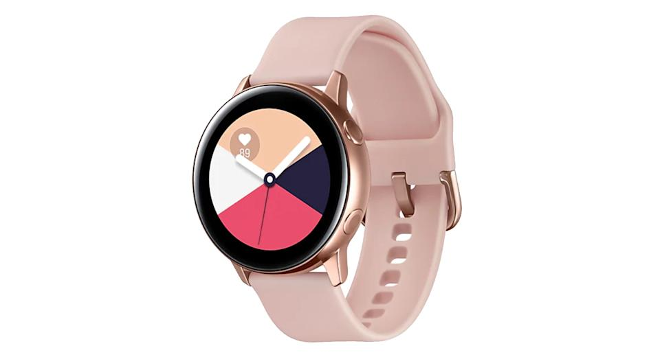 """The latest stylish wearable from Samsung is an impressive smart watch for fitness-loving android users. It features a 28mm display and lightweight design so you can comfortably track all activities from running, cycling, rowing to walking, as well as managing your stress levels, heart rate and sleeping patterns. It can also be connected to your smartphone to answer calls, texts and emails. <a href=""""https://fave.co/2HXA8S4"""" rel=""""nofollow noopener"""" target=""""_blank"""" data-ylk=""""slk:Shop now"""" class=""""link rapid-noclick-resp""""><strong>Shop now</strong></a><strong>.</strong>"""