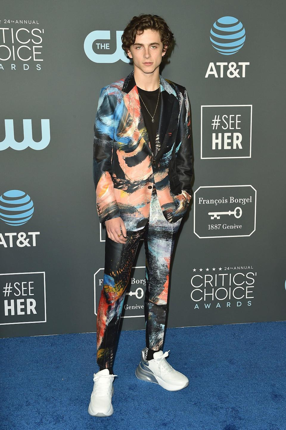 "<h2>Alexander McQueen</h2>Here's to making a printed suit and sneakers look like a million bucks on the Critics' Choice Awards red carpet. <span class=""copyright"">Photo: Axelle/Bauer-Griffin/FilmMagic.</span>"