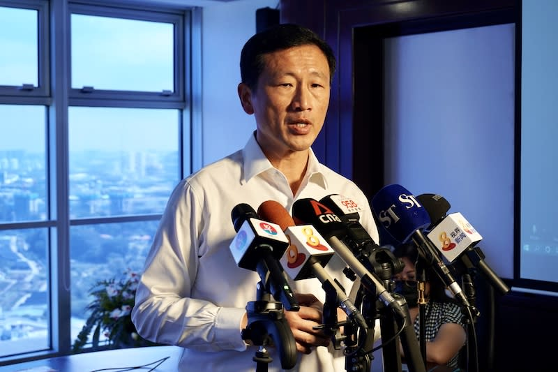 Outgoing Transport Minister Ong Ye Kung addresses reporters on the relaunched Singapore-Hong Kong Air Travel Bubble, on Monday, 26 April 2021. (PHOTO: Ministry of Transport)