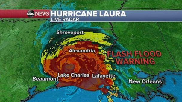 PHOTO: Laura weakened further Thursday morning and is now a Category 2 hurricane with winds up to 110 mph. (ABC News)