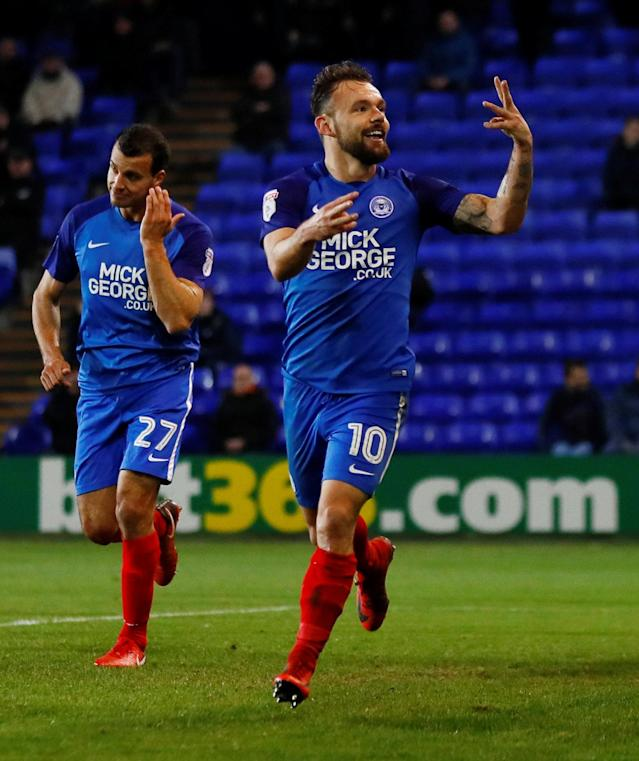 Soccer Football - FA Cup First Round Replay - Tranmere Rovers vs Peterborough United - Prenton Park, Birkenhead, Britain - November 15, 2017 Peterborough United's Danny Lloyd celebrates scoring his sides fourth goal to complete his hat-trick Action Images/Jason Cairnduff
