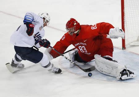 Ice Hockey - Pyeongchang 2018 Winter Olympics - Men's Preliminary Round Match - Olympic Athletes from Russia v U.S. - Gangneung Hockey Centre, Gangneung, South Korea - February 17, 2018 - Broc Little of U.S. in action with Olympic Athlete from Russia goalie Vasili Koshechkin. REUTERS/Brian Snyder