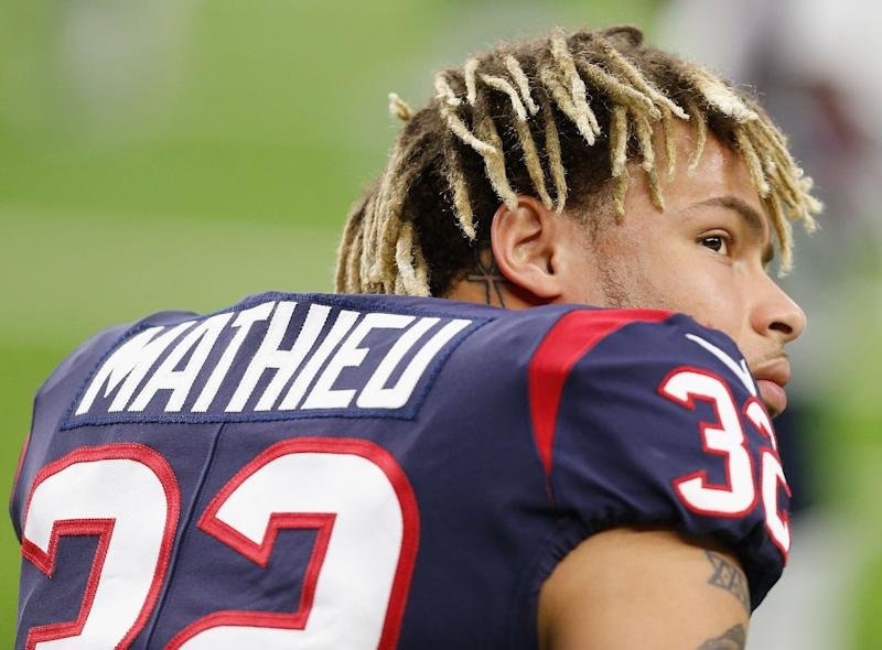 HOUSTON, TEXAS - DECEMBER 30: Tyrann Mathieu #32 of the Houston Texans takes a moment during warm-up before playing the Jacksonville Jaguars at NRG Stadium on December 30, 2018 in Houston, Texas. (Photo by Bob Levey/Getty Images)