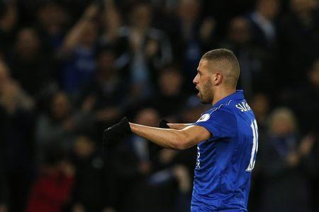Britain Football Soccer - Leicester City v Sunderland - Premier League - King Power Stadium - 4/4/17 Leicester City's Islam Slimani celebrates scoring their first goal Action Images via Reuters / Andrew Boyers Livepic