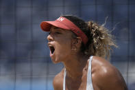 Brandie Wilkerson, of Canada, reacts to winning a women's beach volleyball match against the United States at the 2020 Summer Olympics, Sunday, Aug. 1, 2021, in Tokyo, Japan. (AP Photo/Felipe Dana)