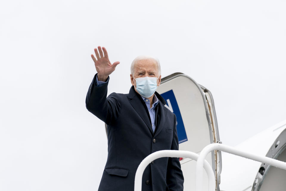 Democratic presidential candidate former Vice President Joe Biden boards his campaign plane at New Castle Airport in New Castle, Del., Friday, Oct. 30, 2020, to travel to Des Moines, Iowa. Biden is holding rallies today in Des Moines, Iowa, Saint Paul, Minn., and Milwaukee, Wis. (AP Photo/Andrew Harnik)